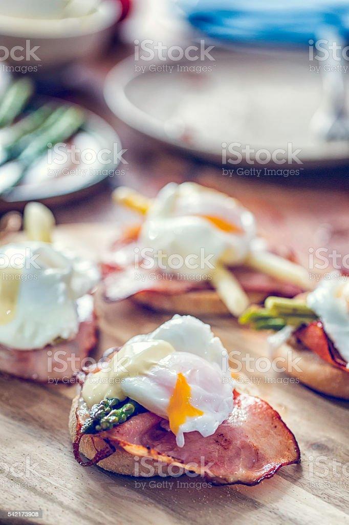Delicious Egg Benedict For Breakfast stock photo