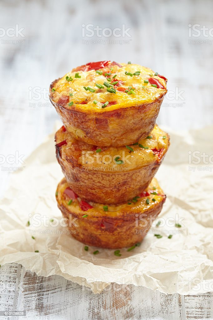 Delicious egg muffins stock photo