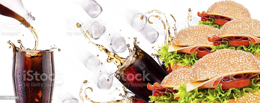 Delicious fast food with burger and cola royalty-free stock photo