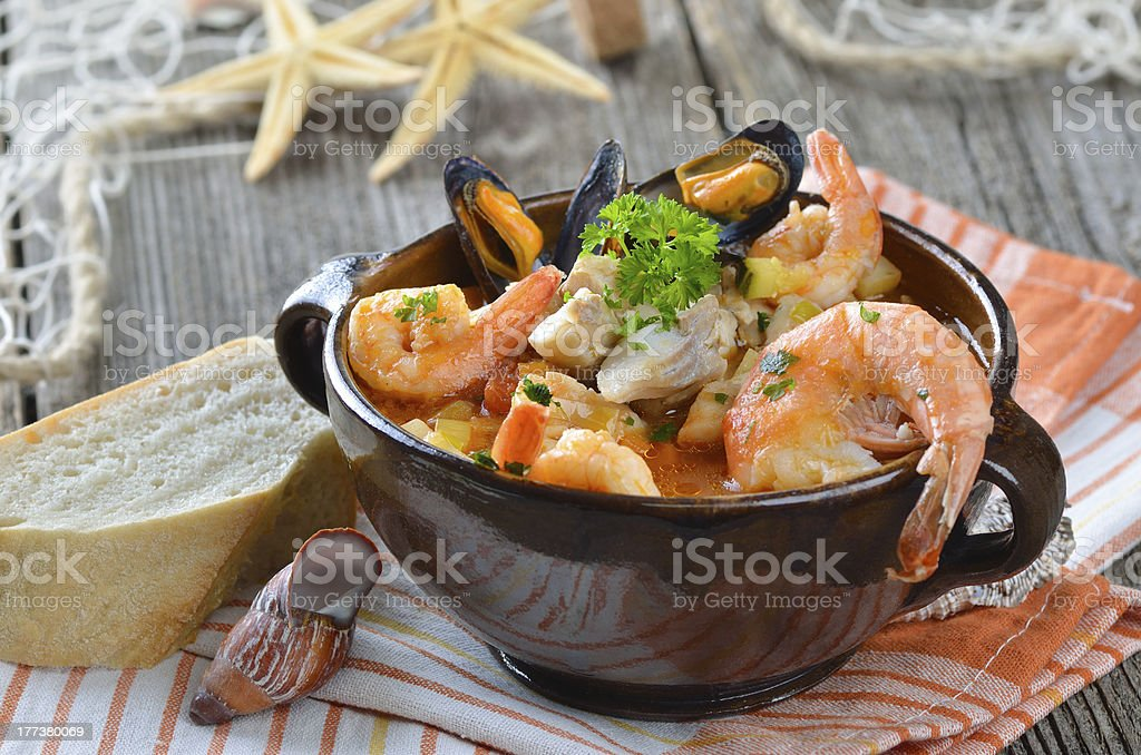 Delicious fish soup stock photo