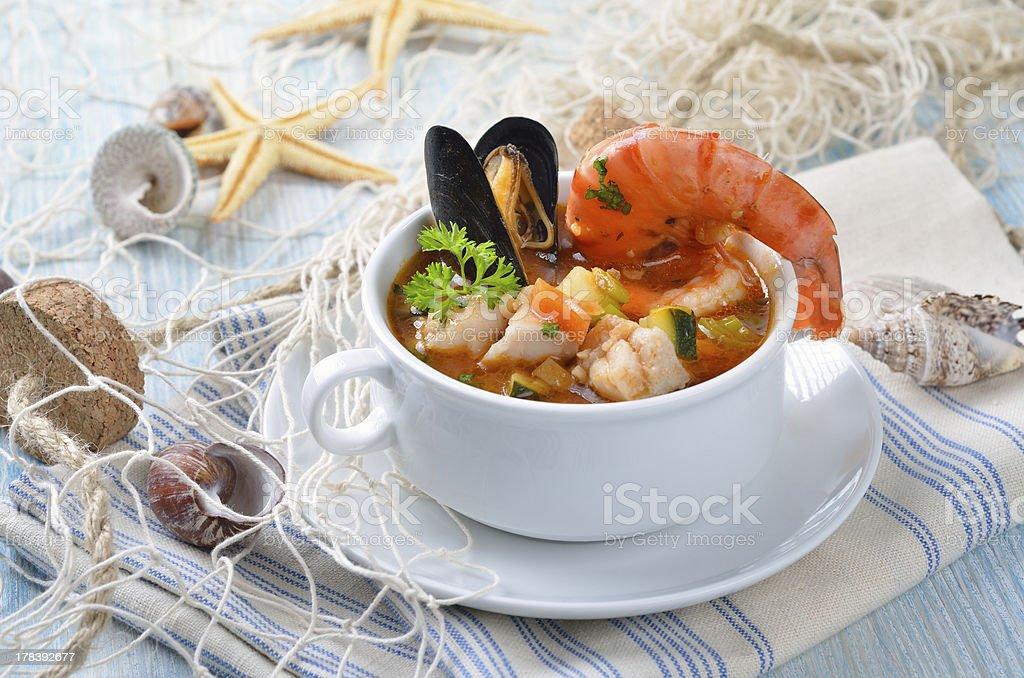 Delicious fish soup stock photo