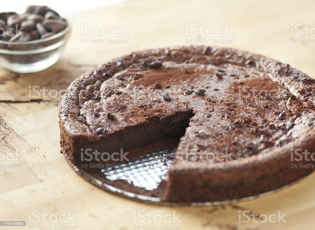 Delicious Flour-less Chocolate Cake stock photo
