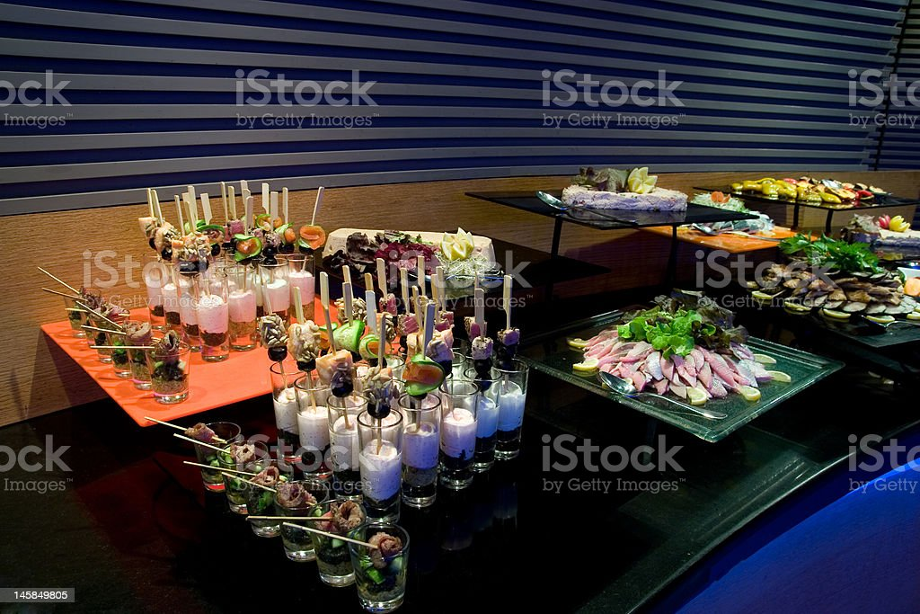 Delicious food on a table in Restaurant royalty-free stock photo