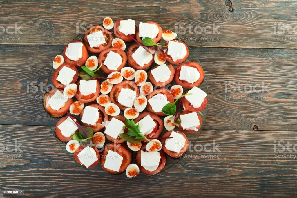 Delicious food on the wooden table stock photo