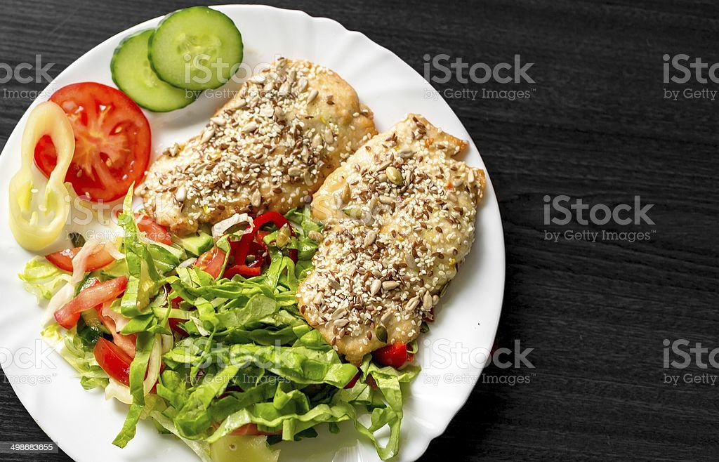 Delicious food on white plate stock photo