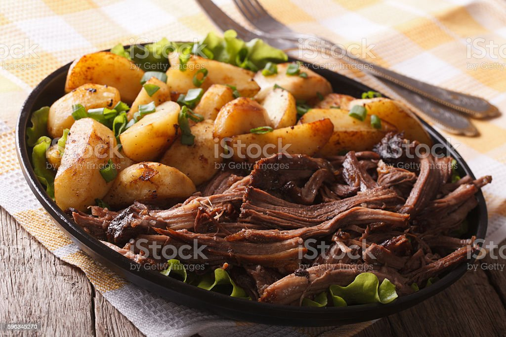 Delicious food: Pulled pork and fried potato close-up. horizontal royalty-free stock photo