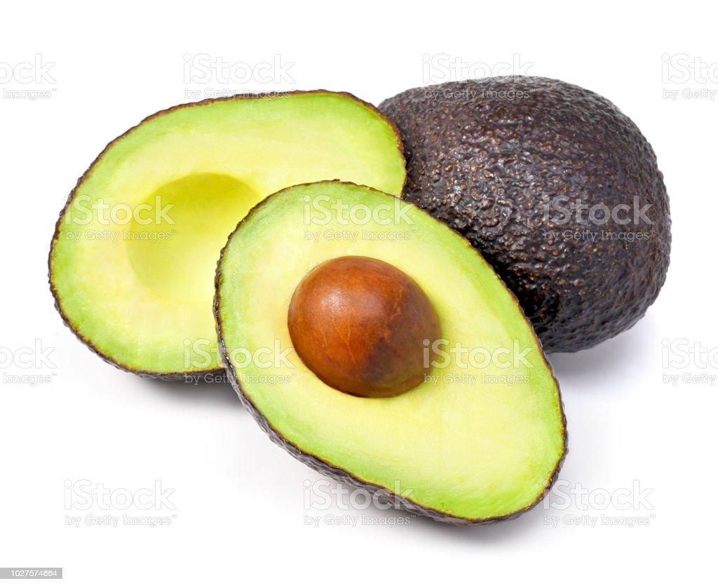 Delicious fresh avocado fruit, isolated on white background stock photo