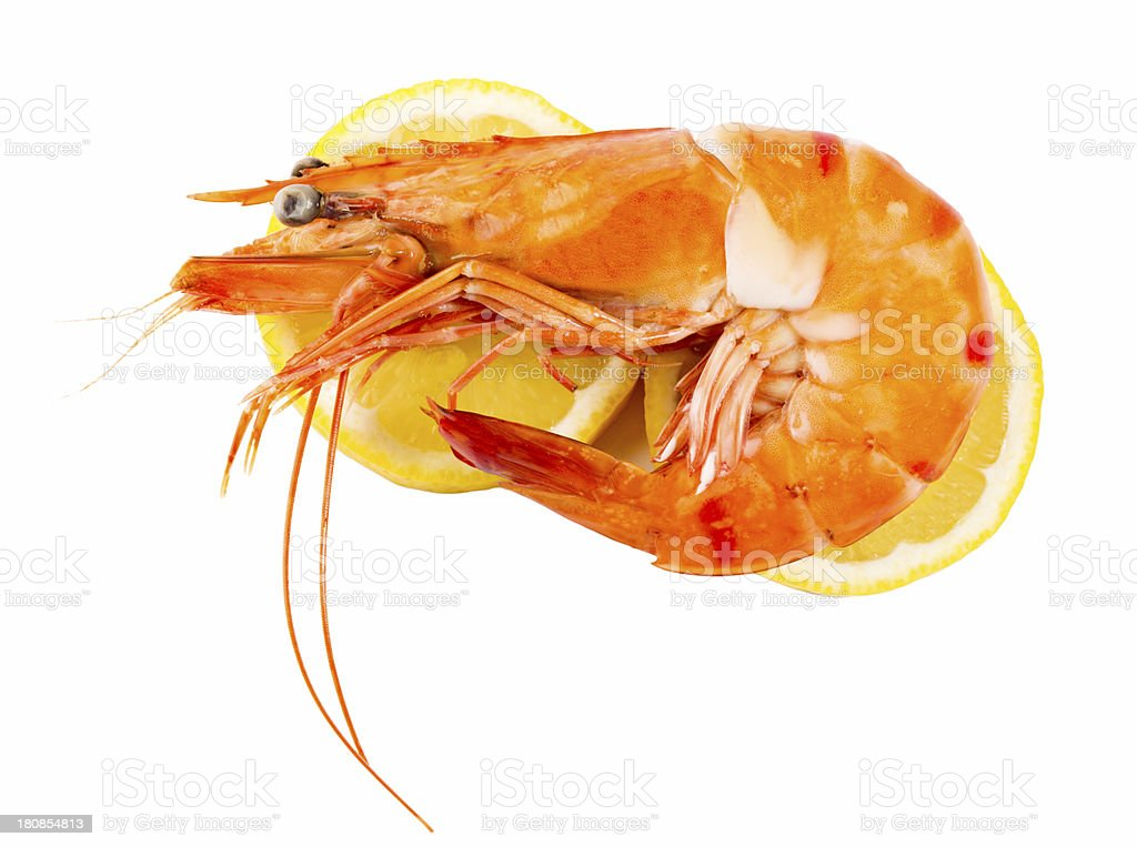 Delicious fresh cooked shrimp royalty-free stock photo