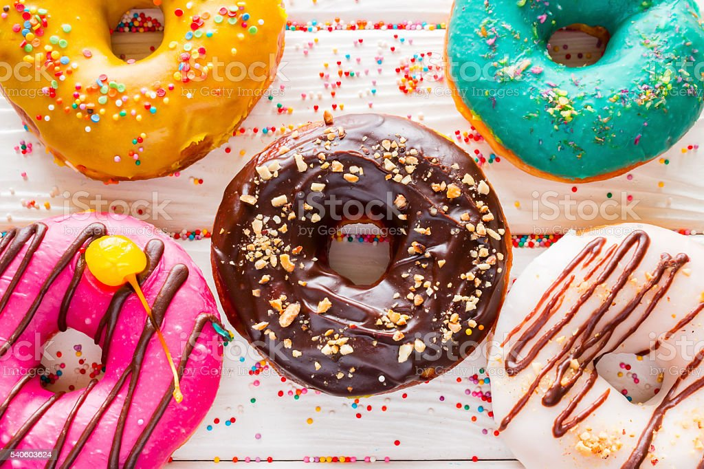 delicious fresh donuts close-up stock photo