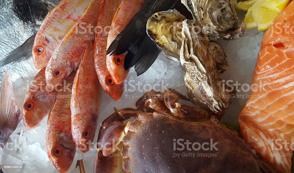 delicious fresh fish on ice - crab, porgy, bream, oyster stock photo