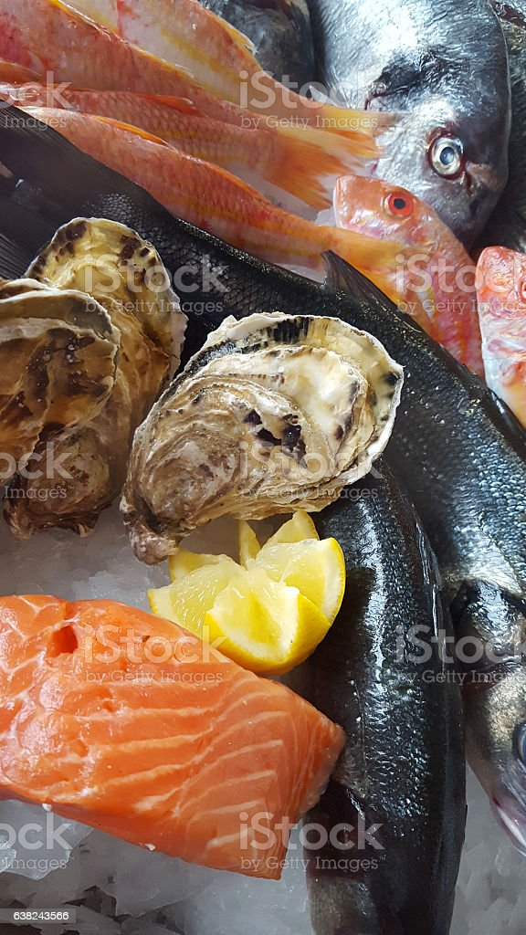 delicious fresh fish on ice -  porgy, bream, oyster, salmon stock photo