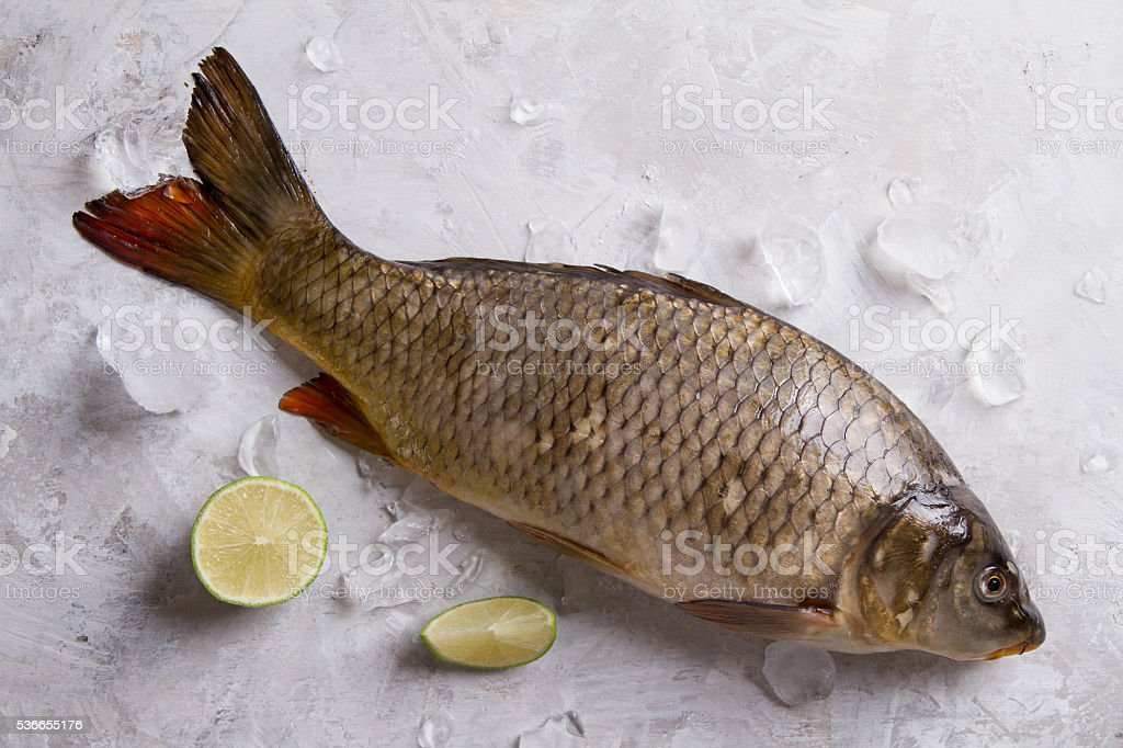 Delicious fresh fish (carp) stock photo