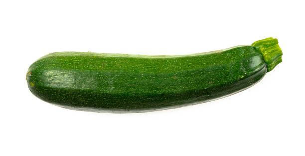 Delicious fresh green zucchini on white background stock photo