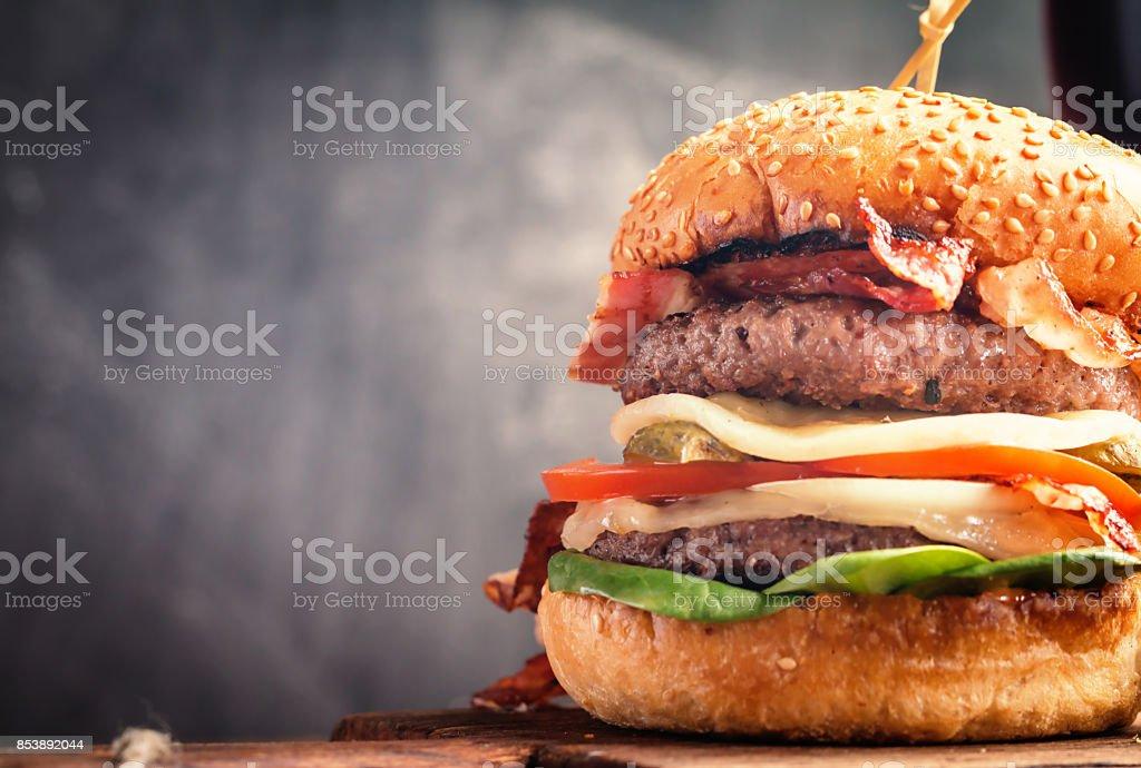 Delicious fresh homemade burger stock photo