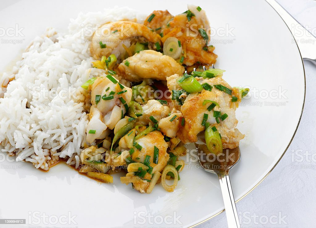 Delicious fresh Monkfish meal royalty-free stock photo