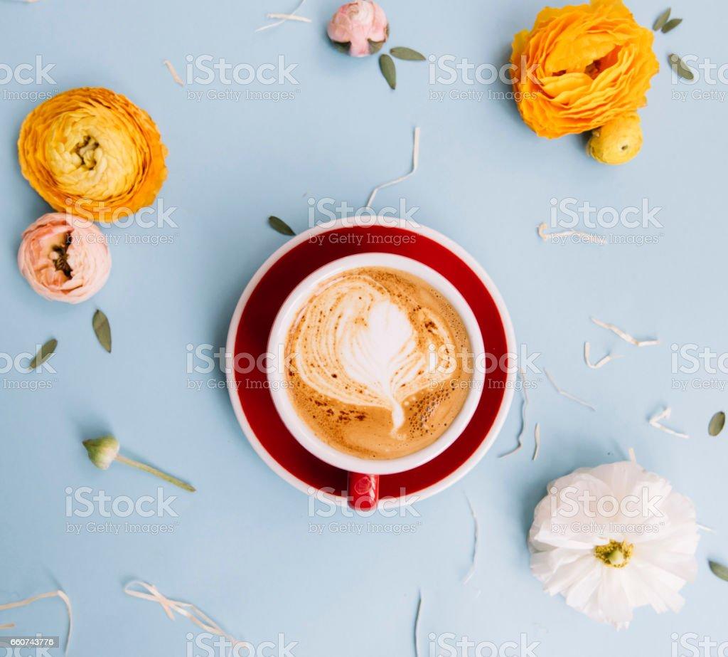 Delicious fresh morning cappuccino stock photo