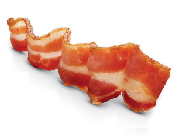맛있는 베이컨 슬라이스. - 베이컨 뉴스 사진 이미지
