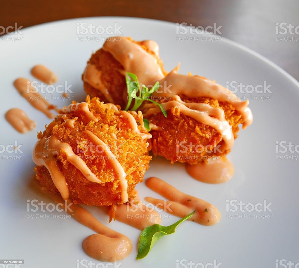 Delicious Fried cheese balls stock photo