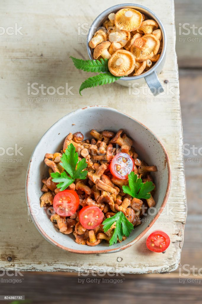 Delicious fried mushrooms made of fresh chanterelles stock photo