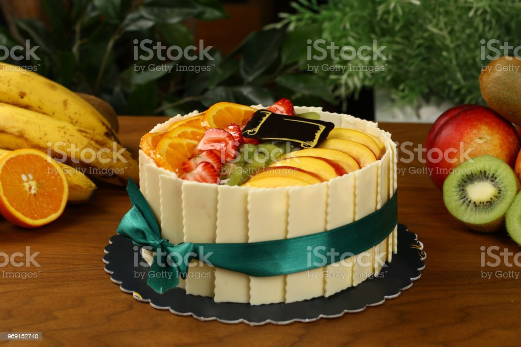 Delicious Fruit Birthday Cake Royalty Free Stock Photo