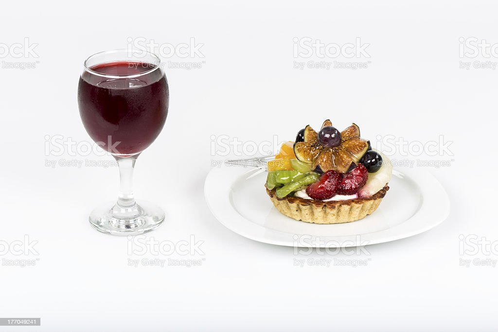 Delicious fruit tarts with cherry juice royalty-free stock photo