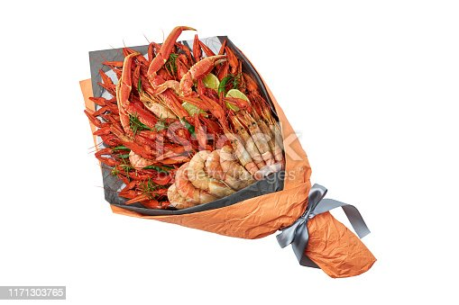 Delicious gift to a friend in the form of a bouquet of boiled crawfish, shrimps and crab on a white background