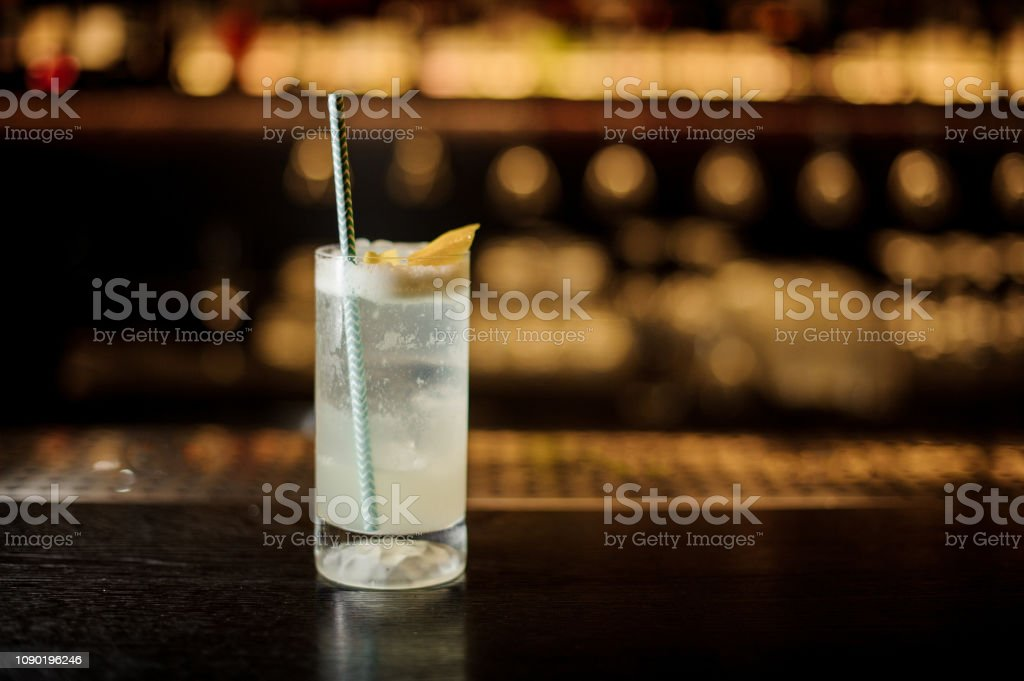 Delicious Gin Fizz cocktail with tubule in the decorative glass stock photo