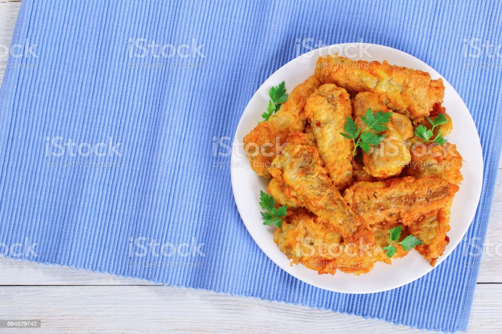 delicious golden batter fried perches on plate royalty-free stock photo
