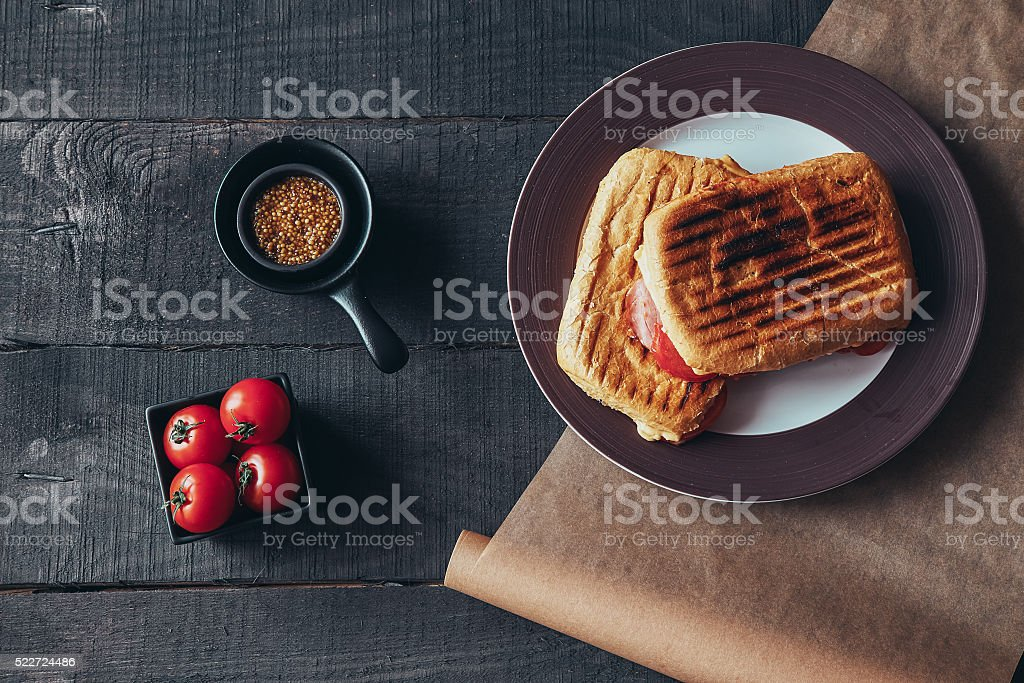 Delicious griled panini sandwich. Top view. stock photo