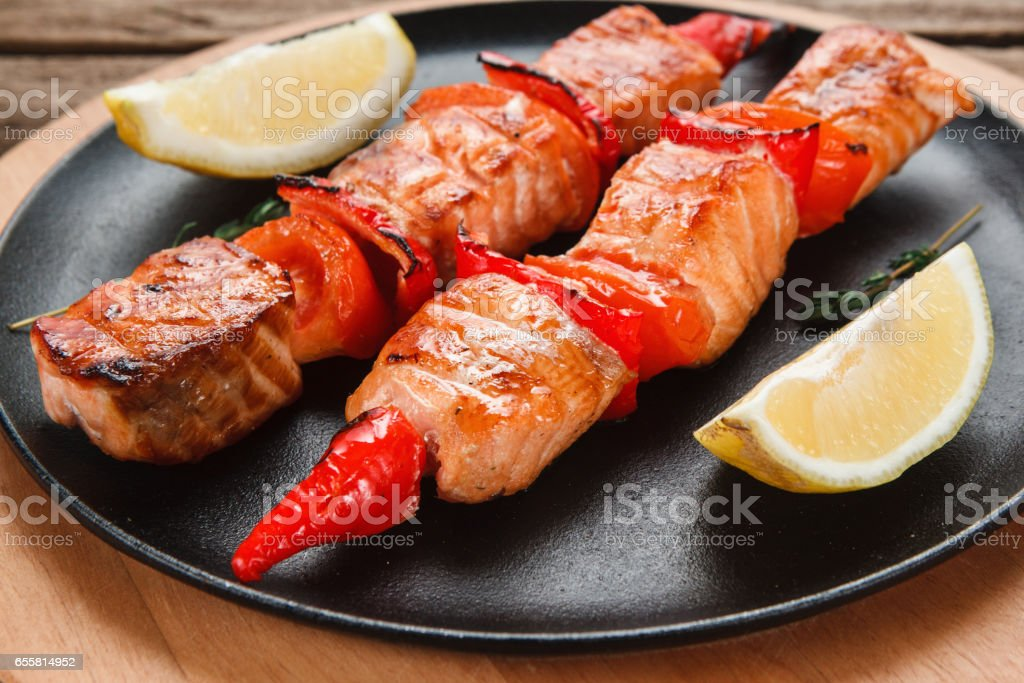 Delicious grilled fish kebab. Japanese cuisine. stock photo