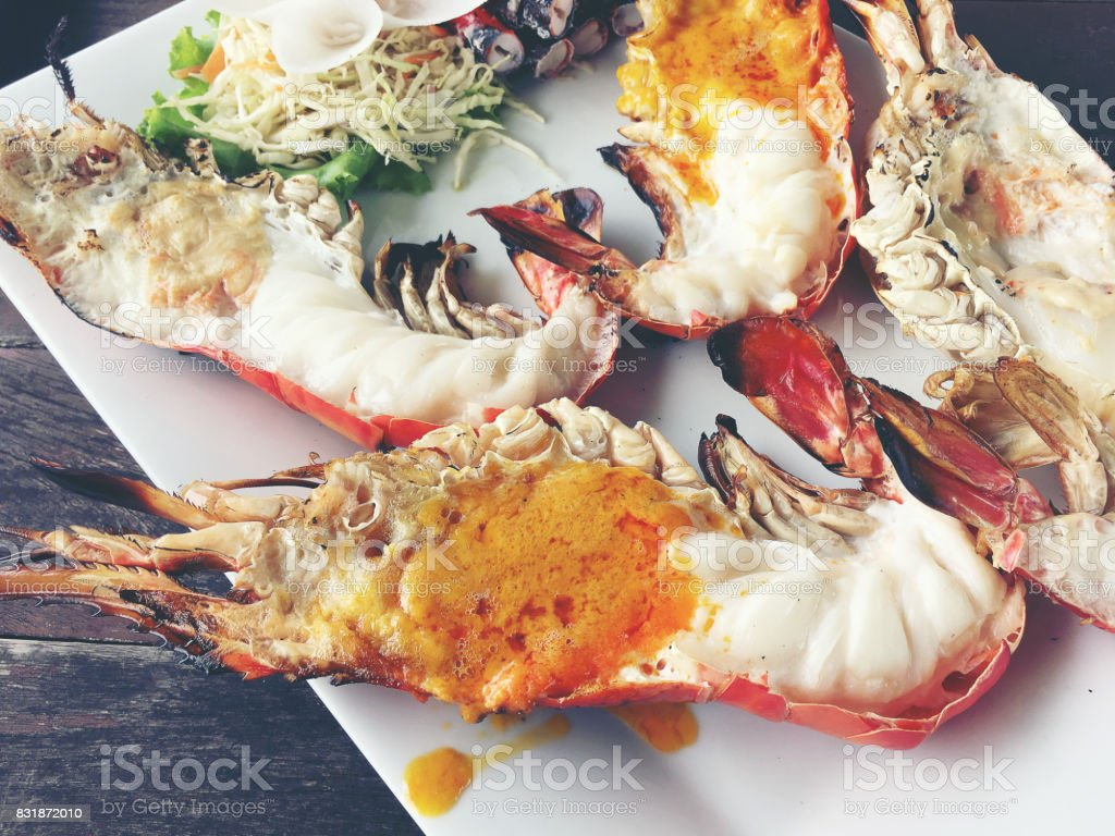 Delicious Grilled Giant River Prawn With Pieces Of Chilli