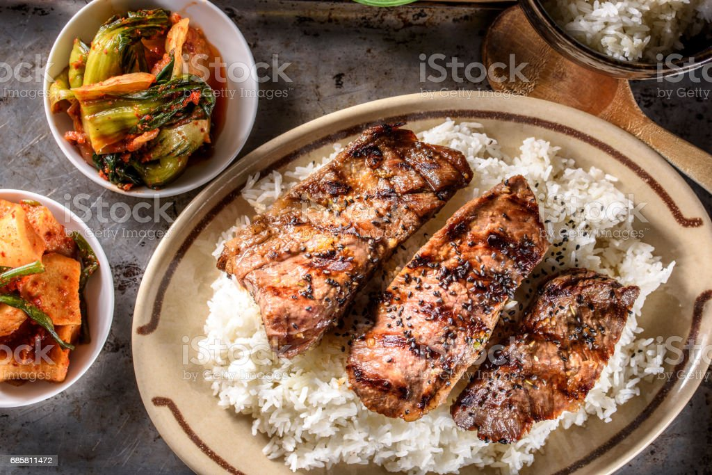 Delicious Grilled Kalbi on over Steamed Rice stock photo