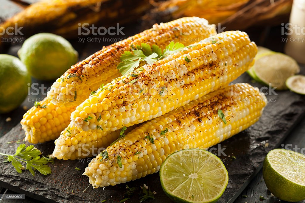 Delicious Grilled Mexican Corn royalty-free stock photo