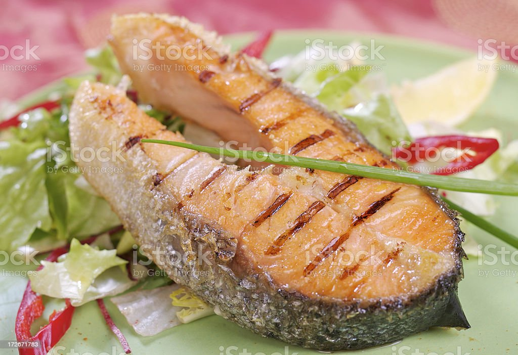 Delicious grilled salmon royalty-free stock photo