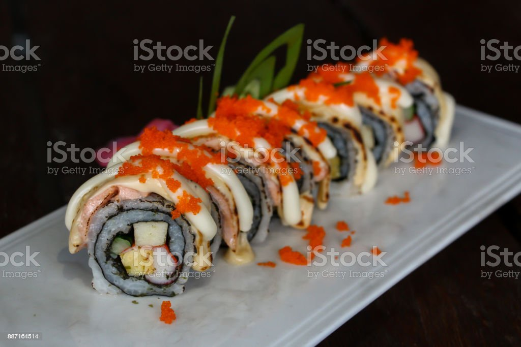 Delicious Grilled Salmon Roll With Ebigo On The Top Stock Photo Download Image Now Istock