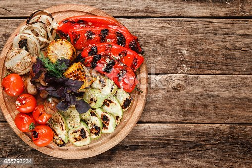 655793486 istock photo Delicious grilled vegetables. Vegetarian food. 655793234