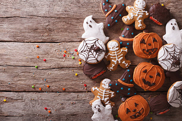 delicious Halloween ginger biscuits closeup. horizontal top view stock photo