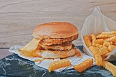 istock Delicious Hamburger with Fries set 1257759852