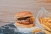 istock Delicious Hamburger with Fries set 1257760044