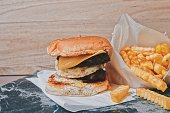 istock Delicious Hamburger with Fries set 1257761221