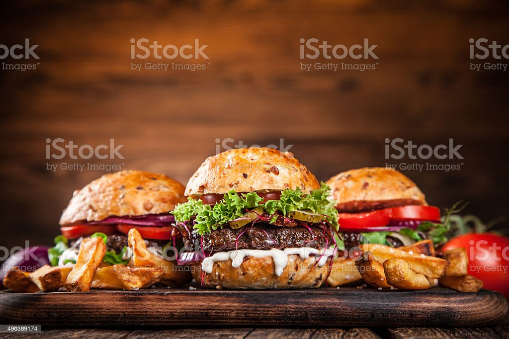 Delicious hamburgers stock photo