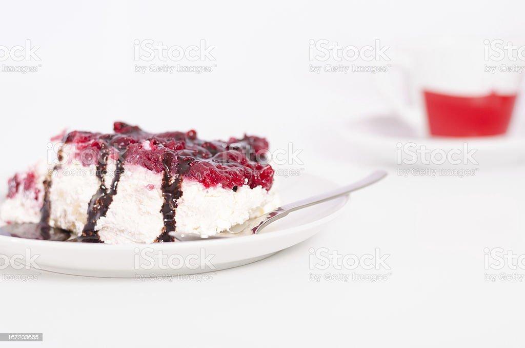 Delicious handmade slice of cheese cake royalty-free stock photo