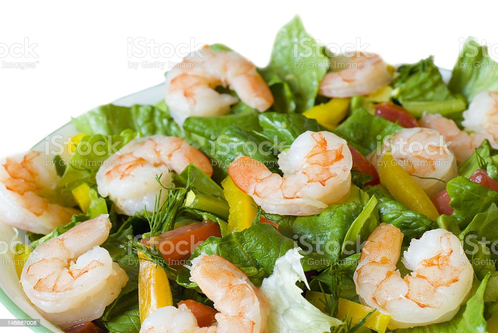 Delicious healthy shrimp salad with green vegetables stock photo