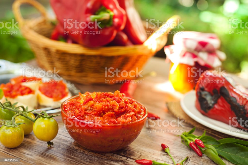 Delicious homemade Ajvar in glass bowl stock photo