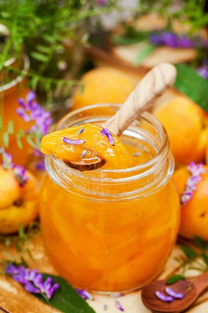 delicious homemade apricot jam - ingwermarmelade stock-fotos und bilder