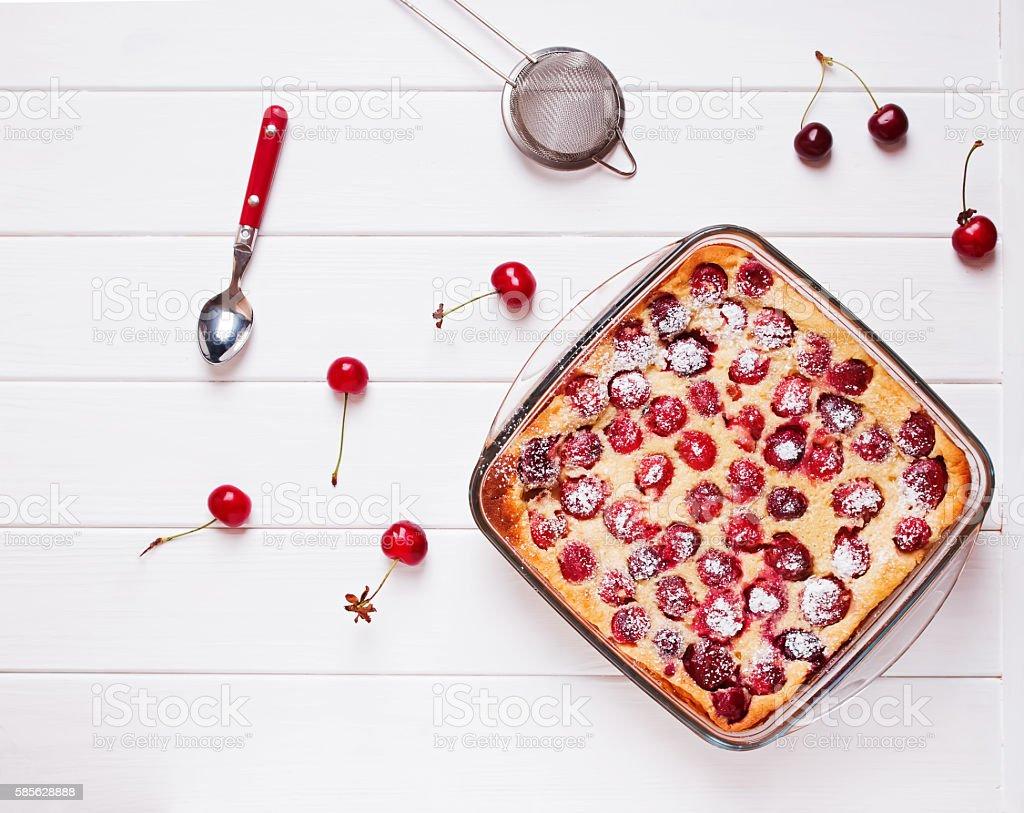 Delicious homemade cherry french dessert stock photo