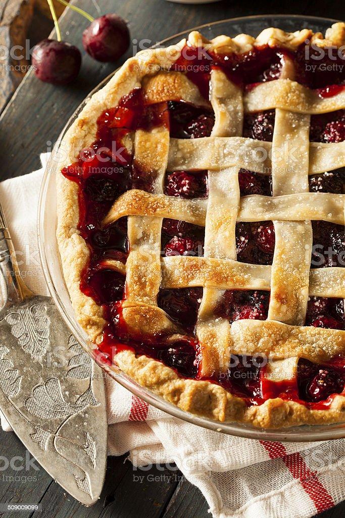Deliciosa tarta de cerezas casero - foto de stock
