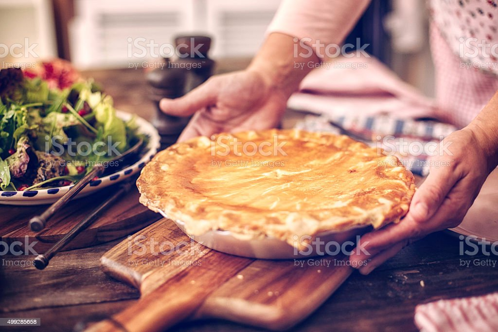 Delicious Homemade Chicken Meat Pie stock photo