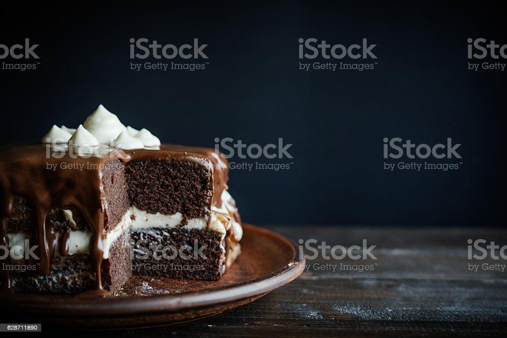 Delicious homemade chocolate cake stock photo