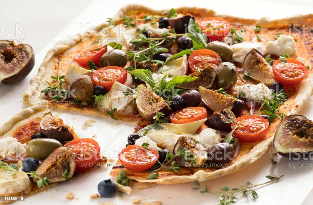 Delicious Homemade Flatbread Pizza stock photo